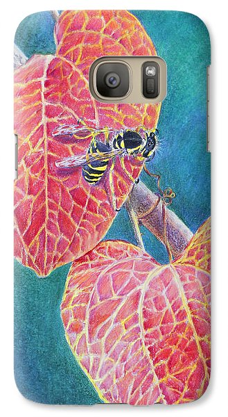 Galaxy Case featuring the painting Bee On Leaf by Mariarosa Rockefeller
