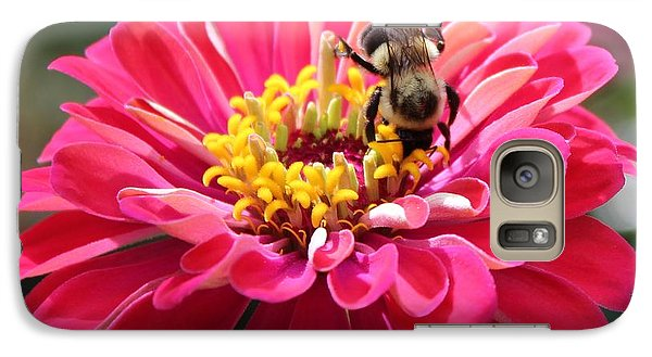 Galaxy Case featuring the photograph Bee On Pink Flower by Cynthia Guinn