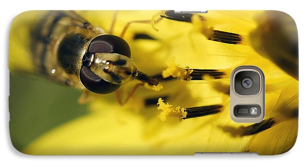 Galaxy Case featuring the photograph Bee On Yellow by Inge Riis McDonald