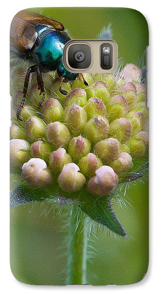 Galaxy Case featuring the photograph Beetle Sitting On Flower by John Wadleigh