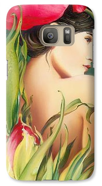 Galaxy Case featuring the painting Behind The Curtain Of Colours -the Tulip by Anna Ewa Miarczynska