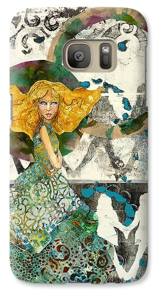 Galaxy Case featuring the mixed media Being A Girl by P Maure Bausch
