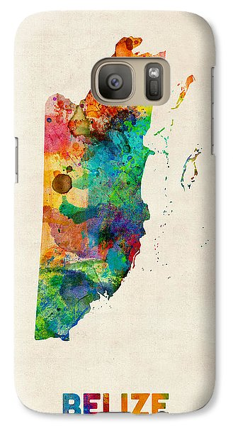 Belize Watercolor Map Galaxy Case by Michael Tompsett