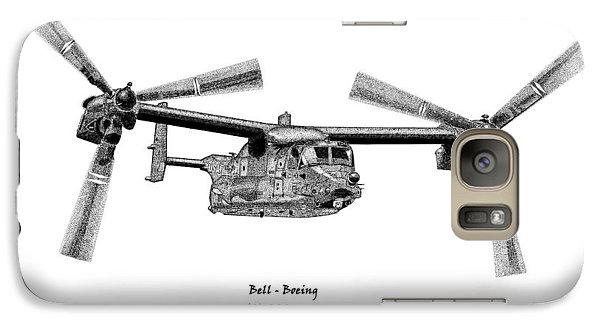 Galaxy Case featuring the drawing Bell-boeing Cv-22b Osprey by Arthur Eggers