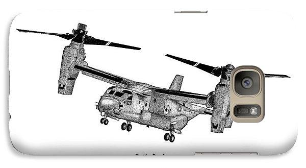 Galaxy Case featuring the drawing Bell-boeing Mv-22b Osprey by Arthur Eggers