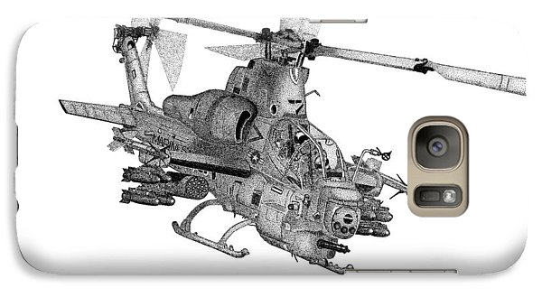 Galaxy Case featuring the drawing Bell Helicopter Ah-1z Supercobra by Arthur Eggers