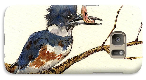 Belted Kingfisher Bird Galaxy Case by Juan  Bosco