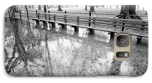 Galaxy S7 Case featuring the photograph Benches Reflection Poets Walk by Dave Beckerman