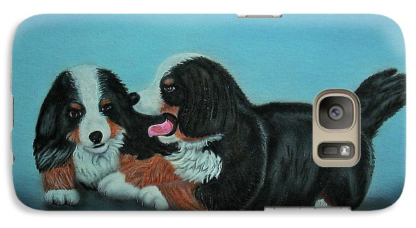 Galaxy Case featuring the painting Bernese Mountain Puppies by Thomas J Herring