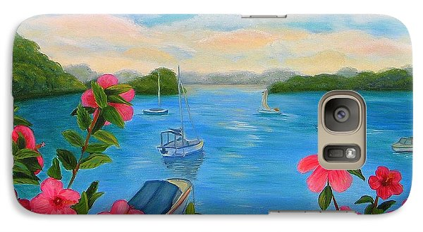Galaxy Case featuring the painting Bermuda Hibiscus - Bermuda Seascape With Boats And Hibiscus by Shelia Kempf