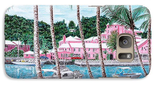 Galaxy Case featuring the painting Bermuda Pink Hotel by Val Miller