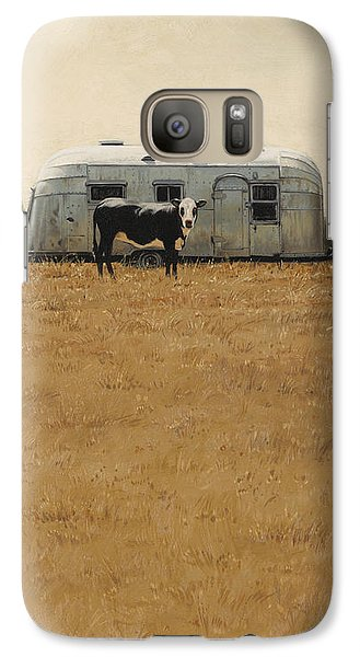 Galaxy Case featuring the painting Bessie Wants To Travel by Ron Crabb