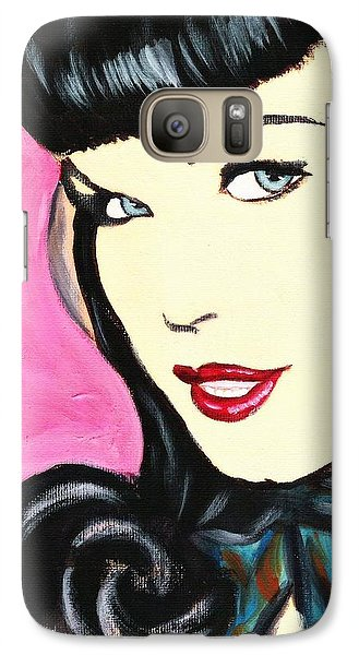 Galaxy Case featuring the painting Bettie Page Pop Art Painting by Bob Baker