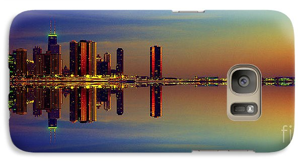 Galaxy Case featuring the photograph Between Night And Day Chicago Skyline Mirrored by Tom Jelen