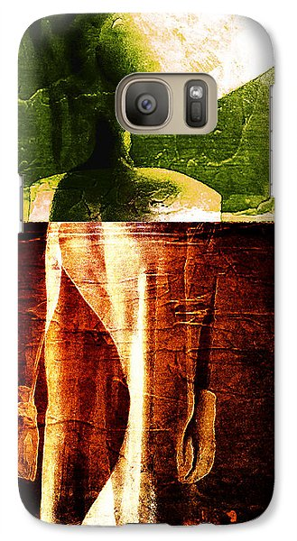 Galaxy Case featuring the digital art Bicolor Flaming Face by Andrea Barbieri
