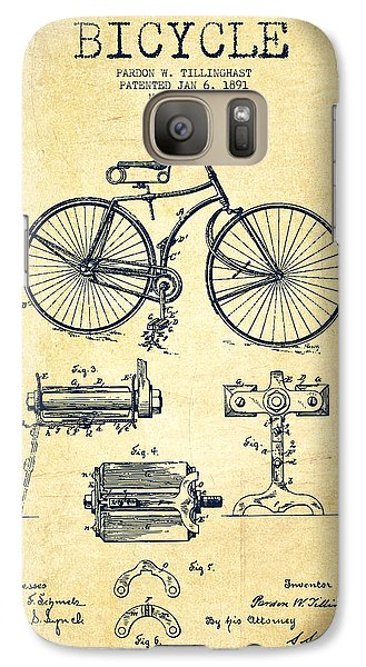 Bicycle Galaxy S7 Case - Bicycle Patent Drawing From 1891 - Vintage by Aged Pixel