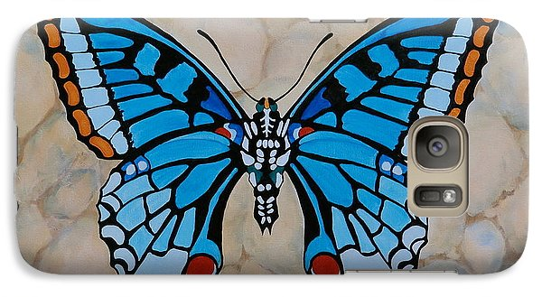 Galaxy Case featuring the painting Big Blue Butterfly by Jo Appleby