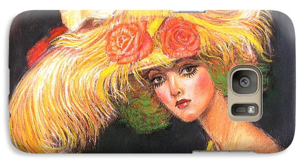 Galaxy Case featuring the painting Big Yellow Fashion Hat by Sue Halstenberg