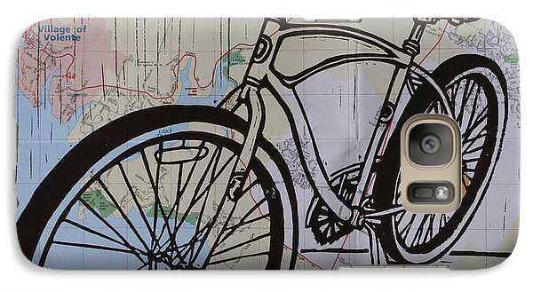 Galaxy Case featuring the drawing Bike 6 On Map by William Cauthern