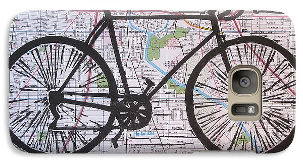 Galaxy Case featuring the drawing Bike 8 On Map by William Cauthern