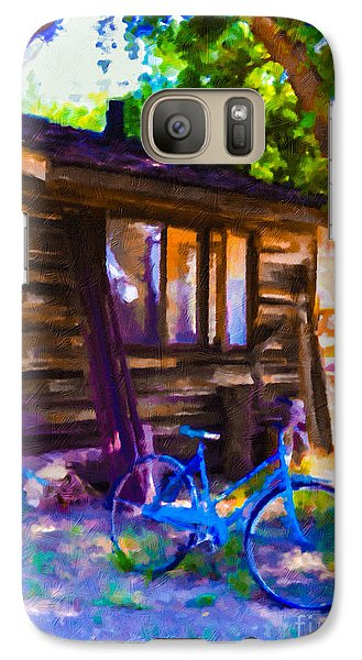 Galaxy Case featuring the painting Bike At Hillside Cabin by Arthaven Studios