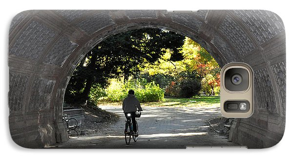 Galaxy Case featuring the photograph Bike Ride Through A Tunnel In Prospect Park Brooklyn by Diane Lent