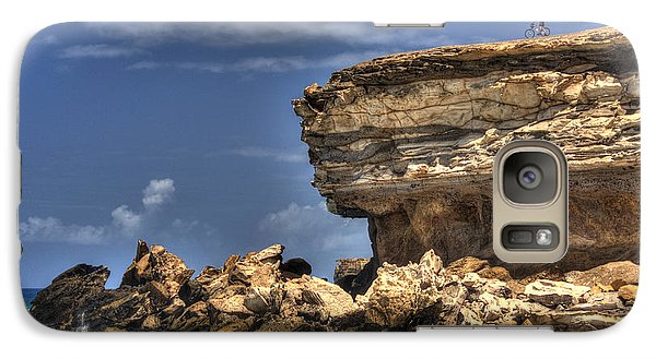 Galaxy Case featuring the photograph Biker On The Rocky Cliff At La Pared by Julis Simo