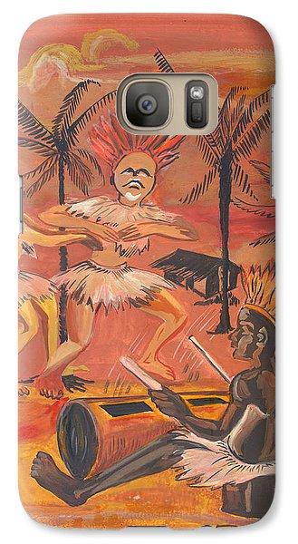 Galaxy Case featuring the painting Bikutsi Dance From Cameroon by Emmanuel Baliyanga