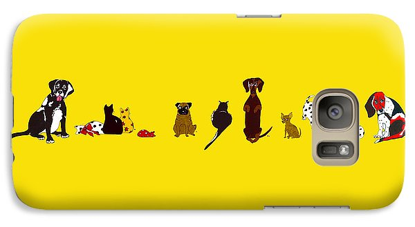 Galaxy Case featuring the drawing Bill And Friends by Rachel Lowry