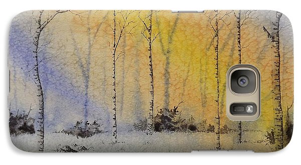 Galaxy Case featuring the painting Birch In Blue by Richard Faulkner