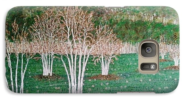 Galaxy Case featuring the painting Birch Tree Field by Jasna Gopic