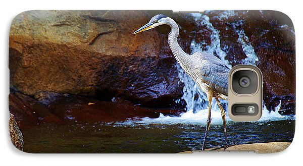Galaxy Case featuring the photograph Bird By A Waterfall  by Sarah Mullin
