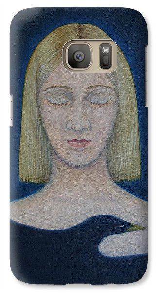 Galaxy Case featuring the painting Bird Embrace by Tone Aanderaa
