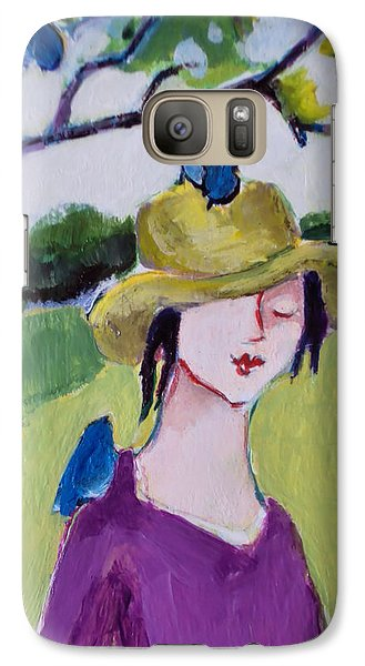 Galaxy Case featuring the painting Bird Girl 3 by Diane Ursin