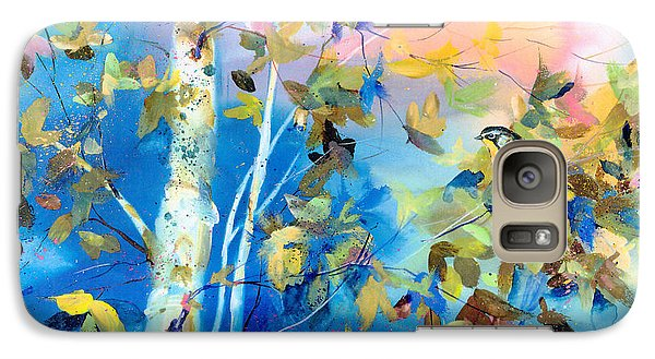 Galaxy Case featuring the painting Bird In Blue by Mary Haley-Rocks