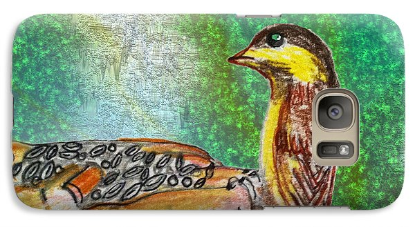 Galaxy Case featuring the drawing Bird In Hand by Barbara Giordano