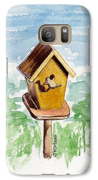 Galaxy Case featuring the painting Birdhouse And Bird Of Wood by Julie Maas