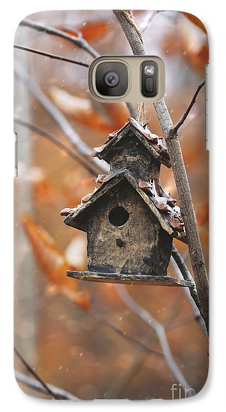 Galaxy Case featuring the photograph Birdhouse Hanging On Branch With Leaves by Sandra Cunningham