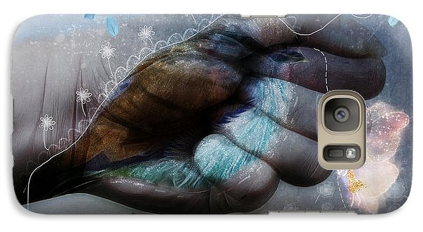 Galaxy Case featuring the digital art Birdie Paintress by Barbara Orenya