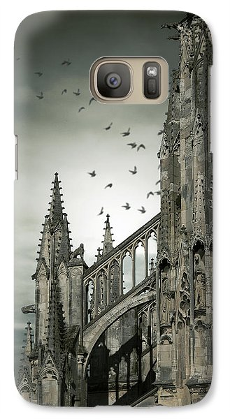 Galaxy Case featuring the photograph Birds Flying Around Old Cathedral  by Ethiriel  Photography
