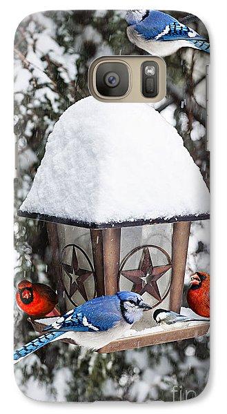 Birds On Bird Feeder In Winter Galaxy S7 Case