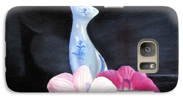 Galaxy Case featuring the painting Birthday Party Cat by LaVonne Hand