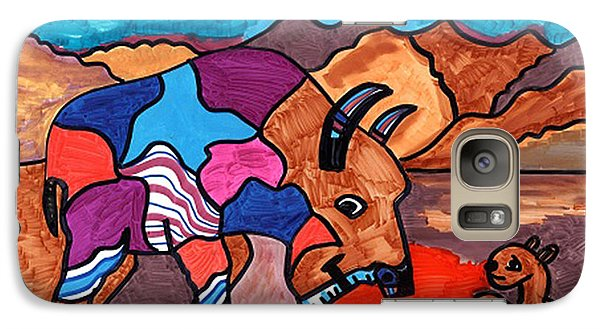 Galaxy Case featuring the drawing Bison And Prairie Dog by Don Koester
