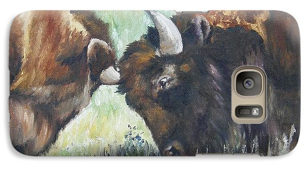 Galaxy Case featuring the painting Bison Brawl by Lori Brackett