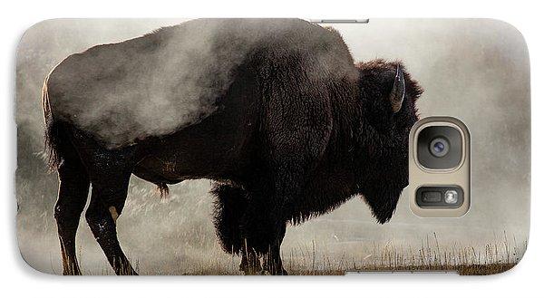Bison Galaxy S7 Case - Bison In Mist, Upper Geyser Basin by Adam Jones