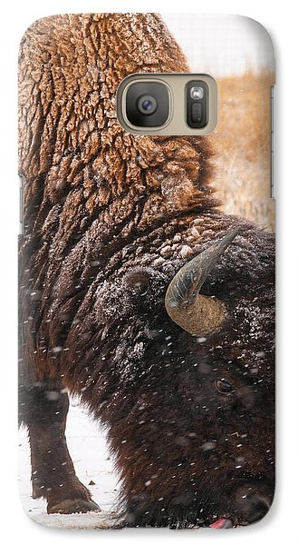 Galaxy Case featuring the photograph Bison In Snow_1 by Tom Potter