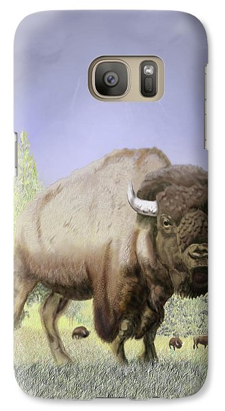 Galaxy Case featuring the digital art Bison On The Range by Thomas J Herring