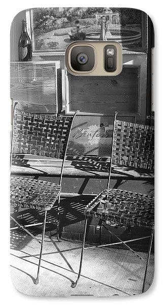 Galaxy Case featuring the photograph Bistro Chairs In Black And White by Margie Avellino