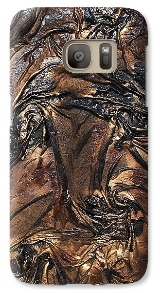 Galaxy Case featuring the mixed media Black And Gold Flowers by Angela Stout