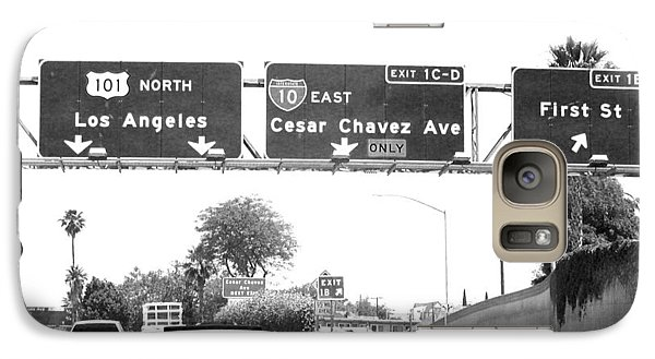 Galaxy Case featuring the photograph Black And White Abstract City Photography...l.a. Freeway by Amy Giacomelli